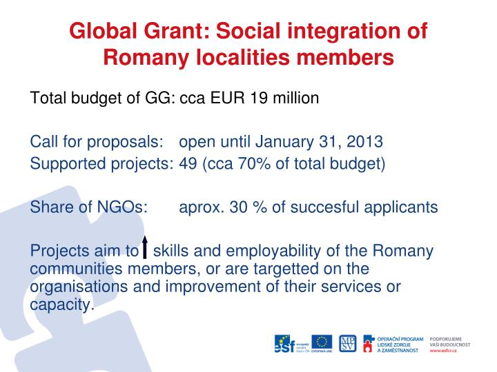 Global Grant: Social integration of Romany localities members