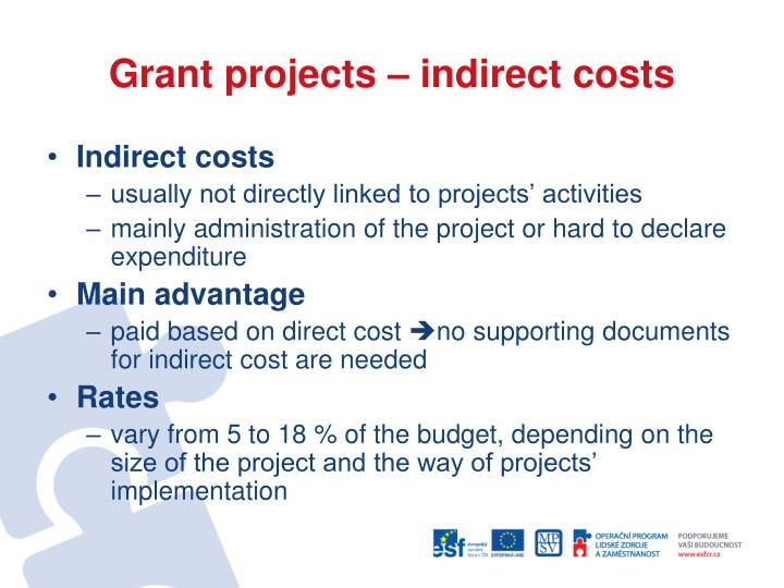 Grant projects – indirect costs