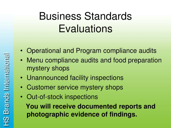 Business Standards Evaluations