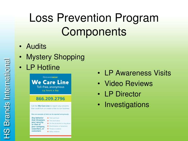Loss prevention program components
