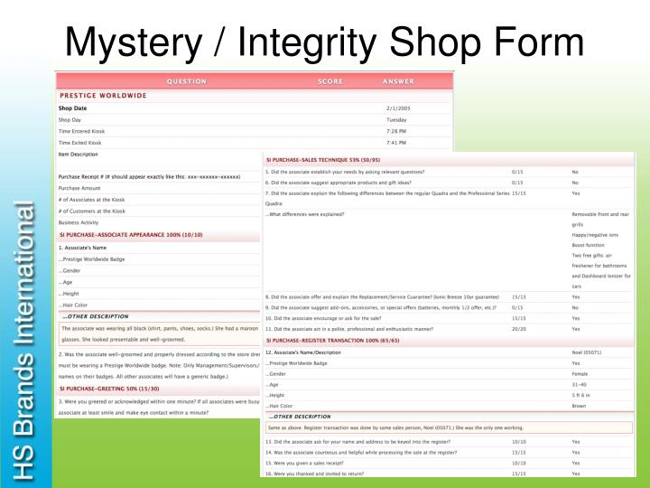 Mystery / Integrity Shop Form