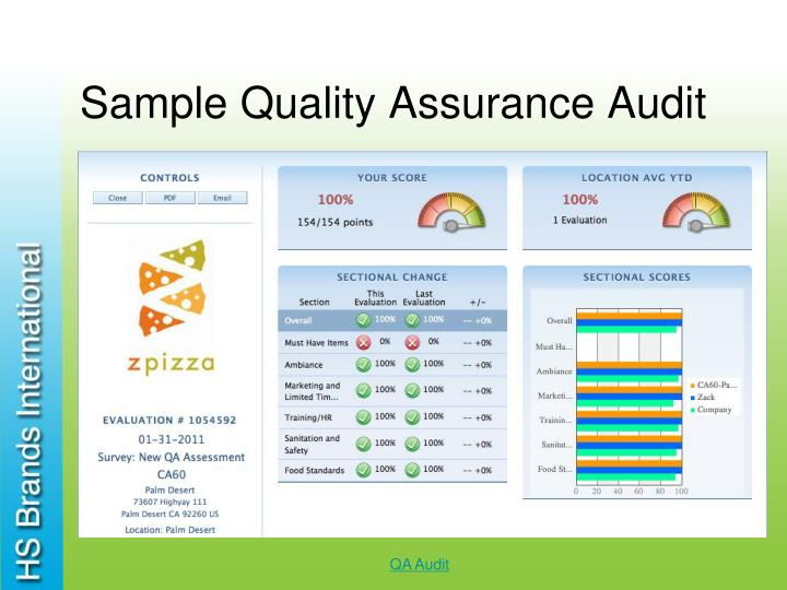 Sample Quality Assurance Audit