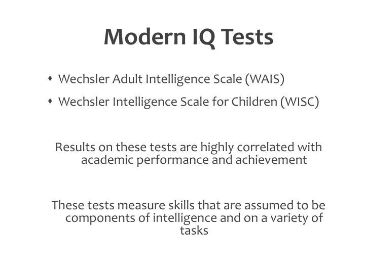 Modern IQ Tests