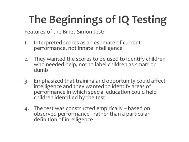 The Beginnings of IQ Testing