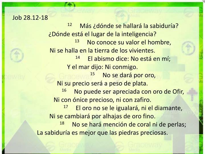 Job 28.12-18