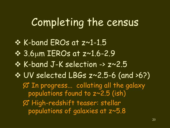 Completing the census