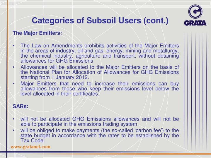 Categories of Subsoil Users (cont.)