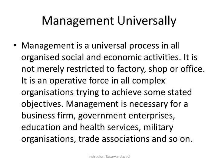 Management Universally