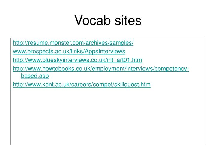 Vocab sites