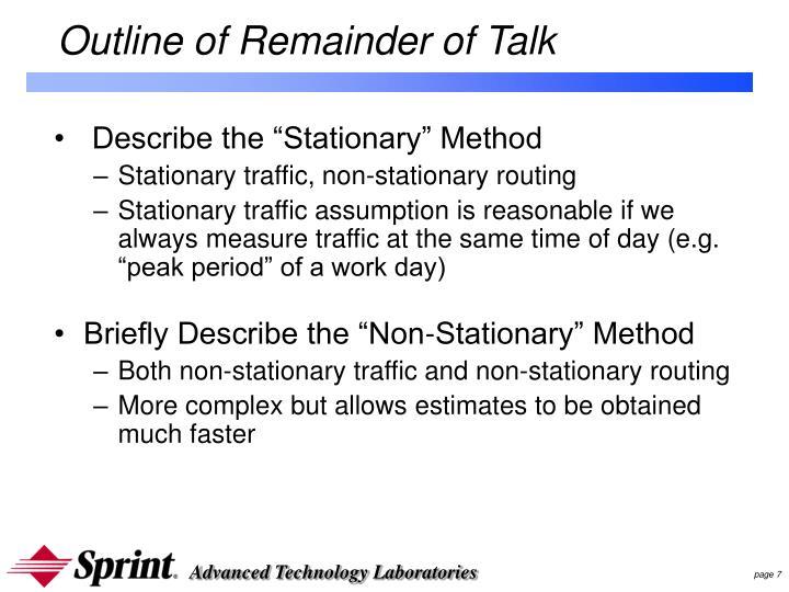 Outline of Remainder of Talk