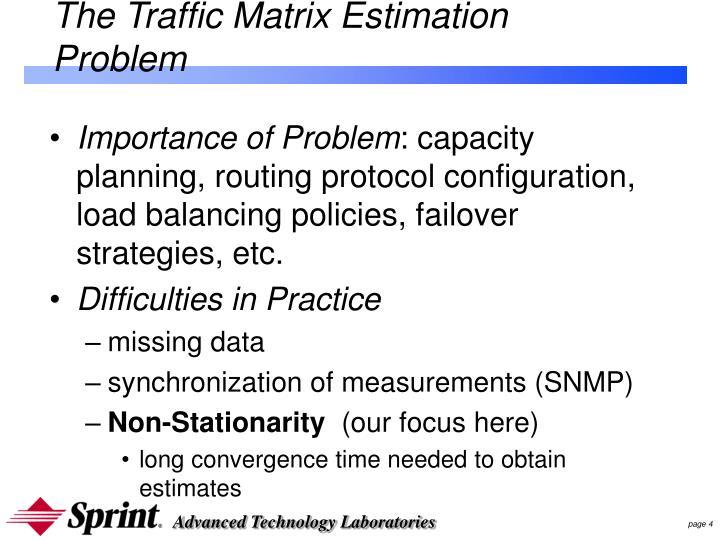 The Traffic Matrix Estimation Problem