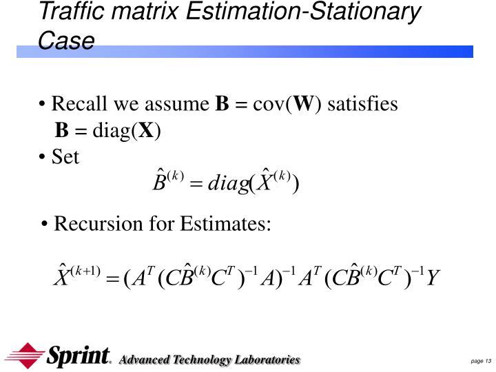 Traffic matrix Estimation-Stationary Case