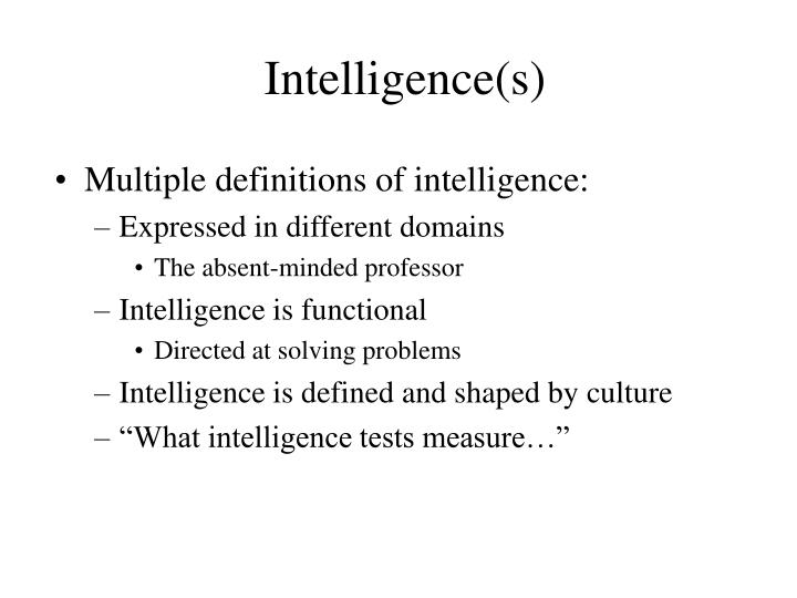 Intelligence(s)