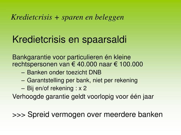 Kredietcrisis + sparen en beleggen