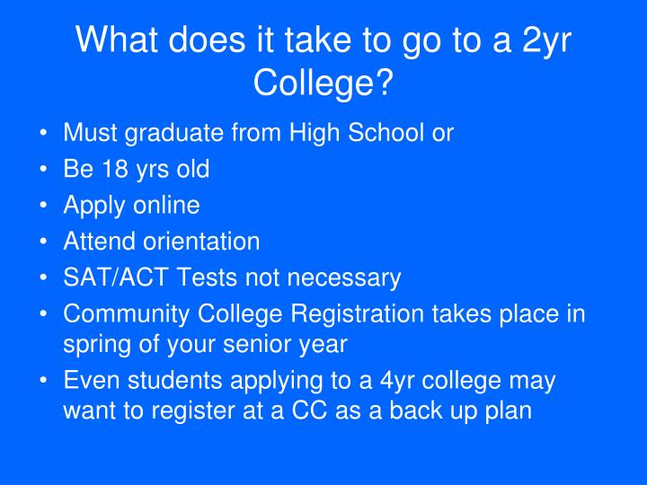 What does it take to go to a 2yr College?