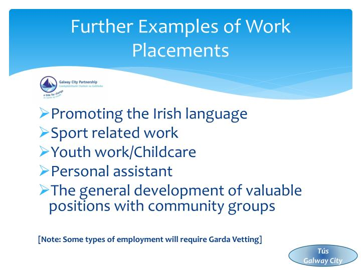 Further Examples of Work Placements