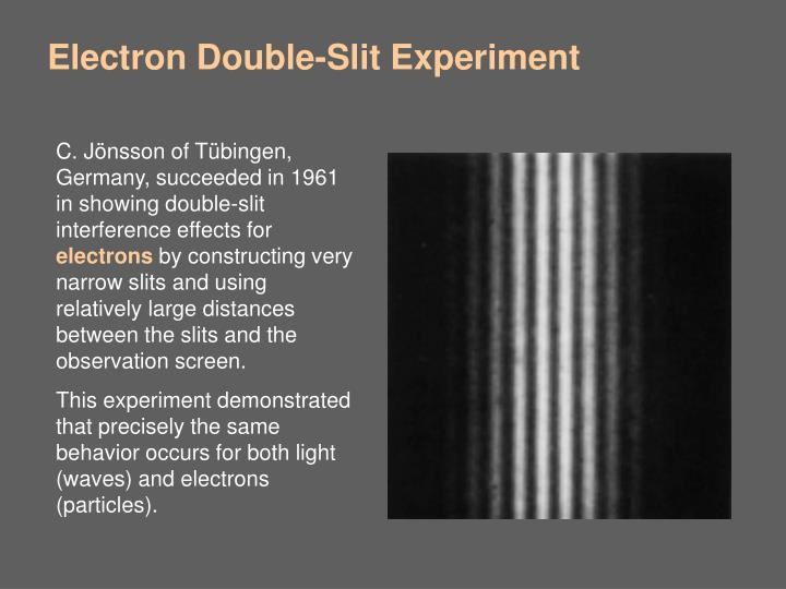 C. Jönsson of Tübingen, Germany, succeeded in 1961 in showing double-slit interference effects for
