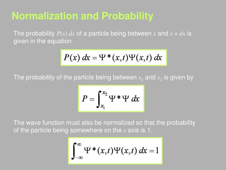 Normalization and Probability