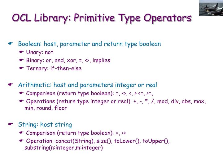 OCL Library: Primitive Type Operators