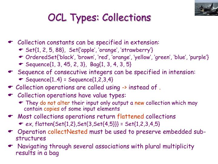 OCL Types: Collections