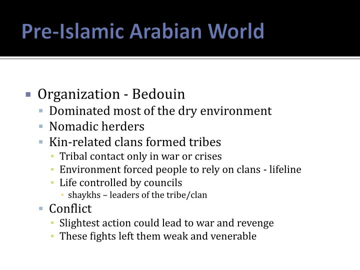Pre islamic arabian world