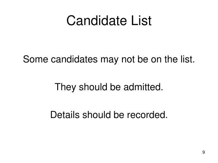 Candidate List