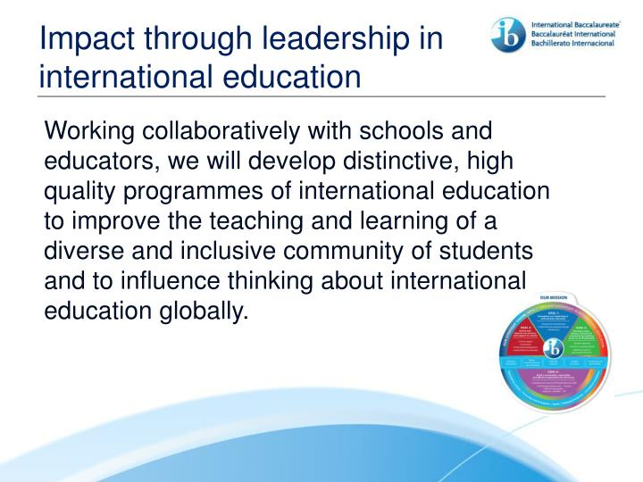 Impact through leadership in international education