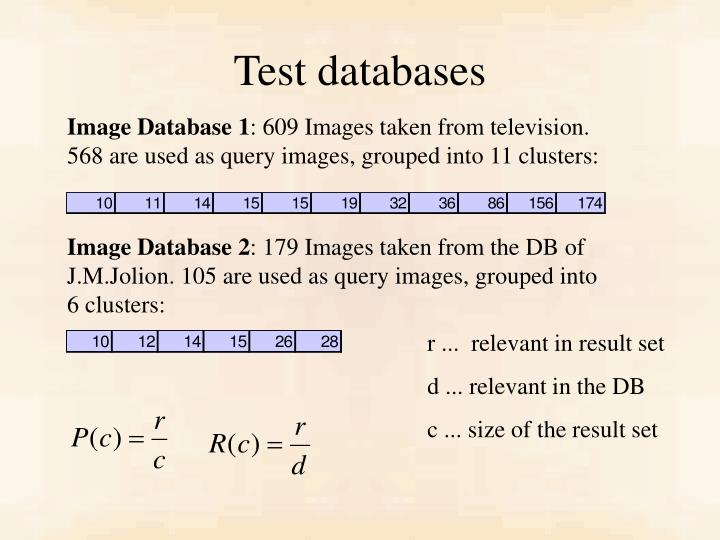 Test databases