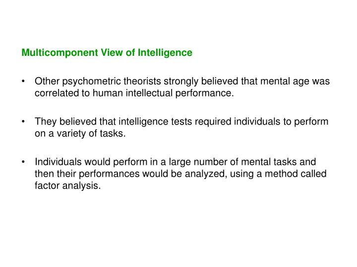 Multicomponent View of Intelligence