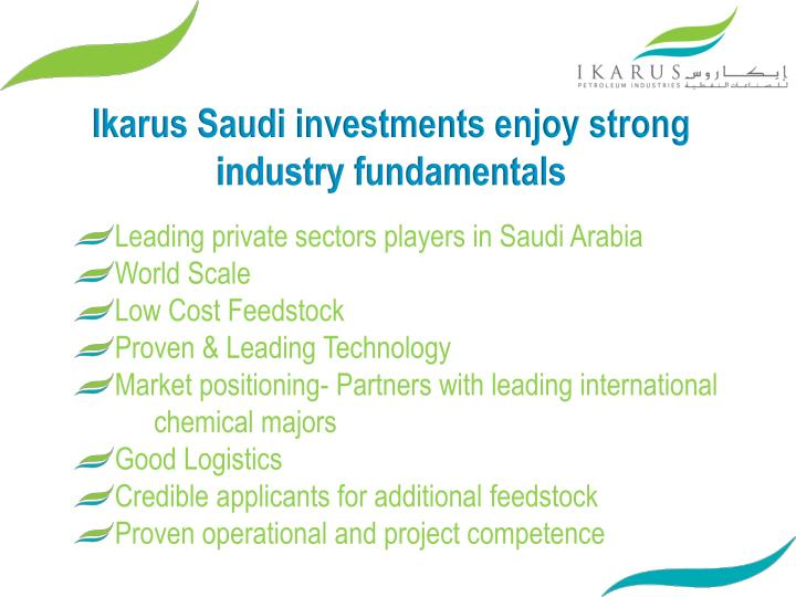 Ikarus Saudi investments enjoy strong industry fundamentals