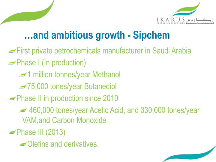 …and ambitious growth - Sipchem