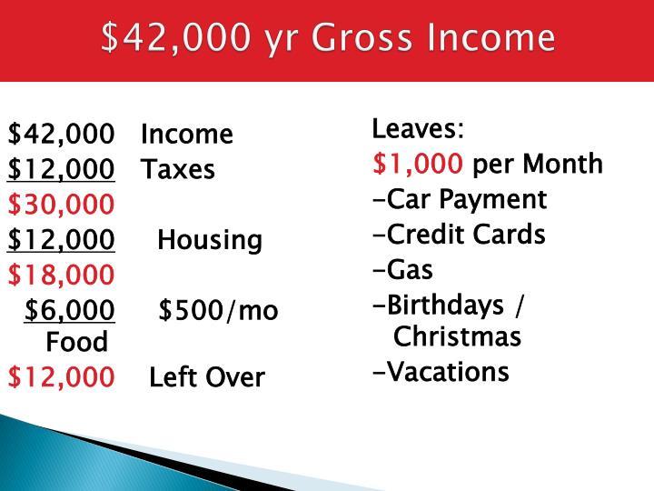 $42,000 yr Gross Income