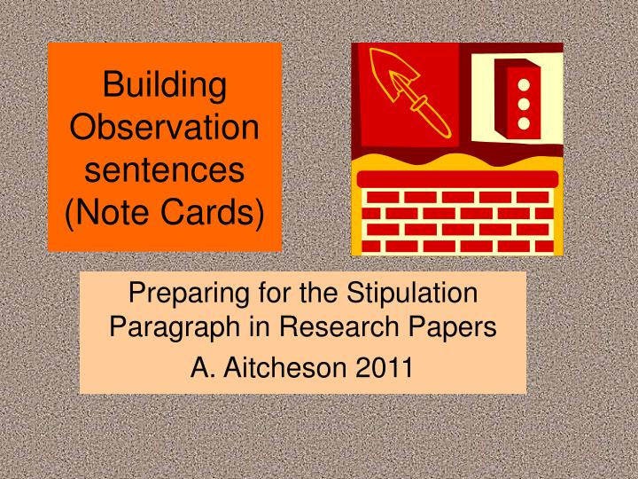 Building observation sentences note cards