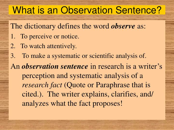 What is an observation sentence