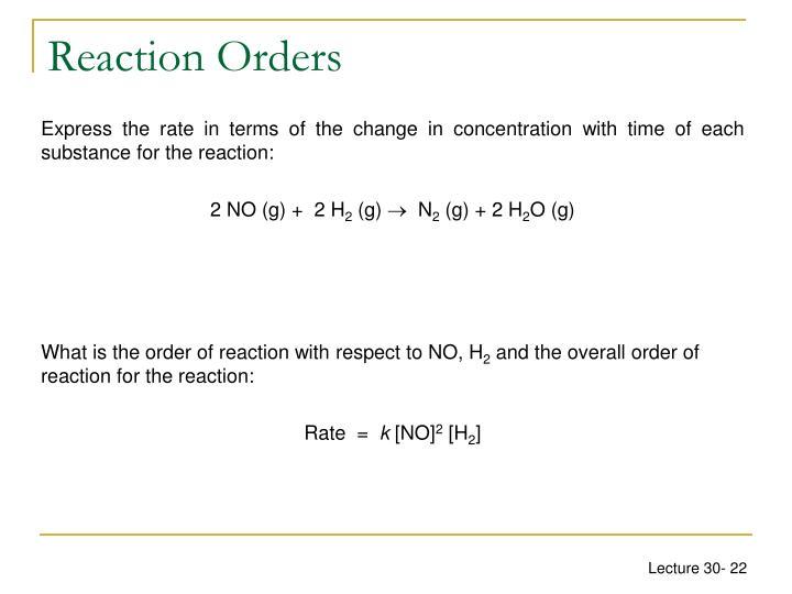 Reaction Orders