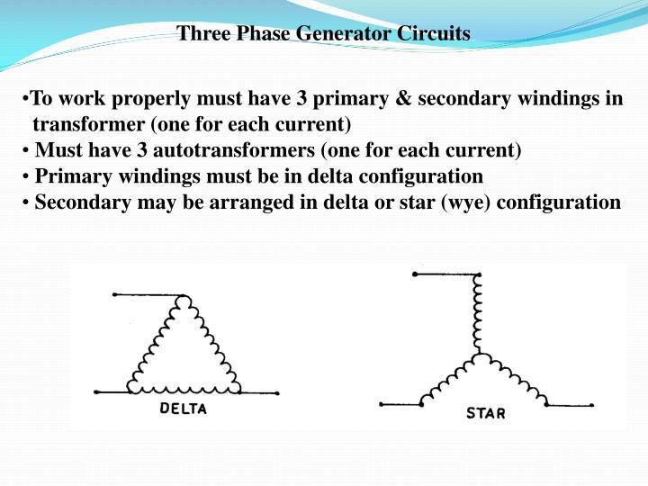 Three Phase Generator Circuits