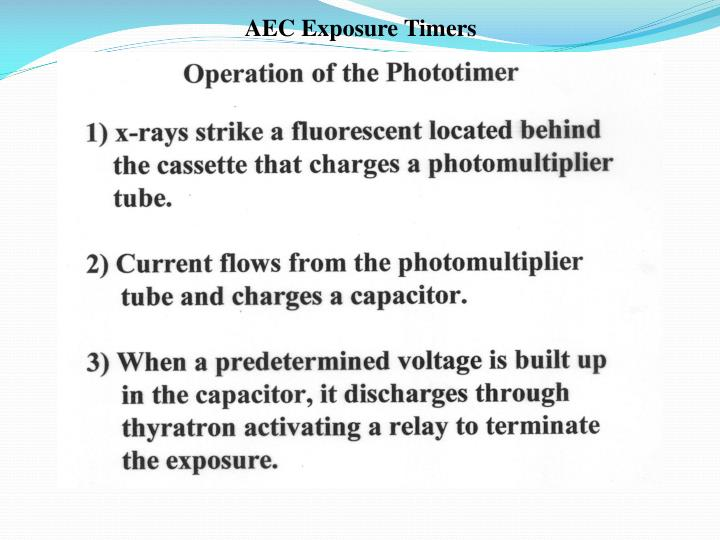 AEC Exposure Timers
