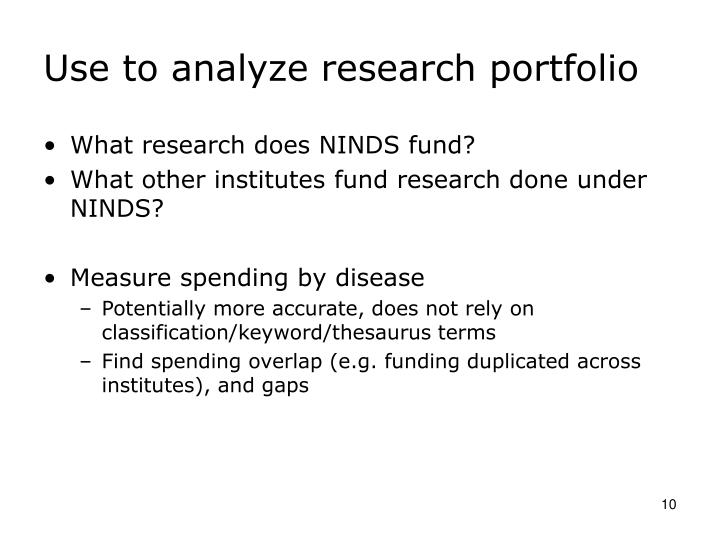 Use to analyze research portfolio
