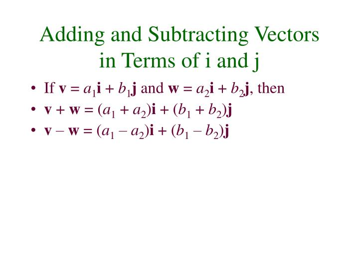 Adding and Subtracting Vectors in Terms of i and j