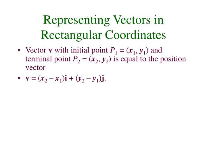 Representing Vectors in Rectangular Coordinates