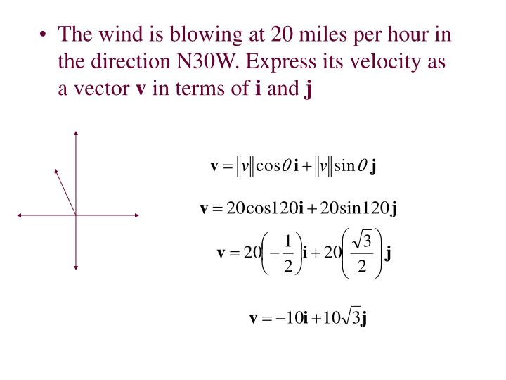 The wind is blowing at 20 miles per hour in the direction N30W. Express its velocity as a vector