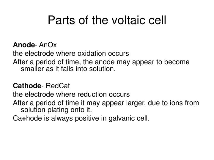 Parts of the voltaic cell