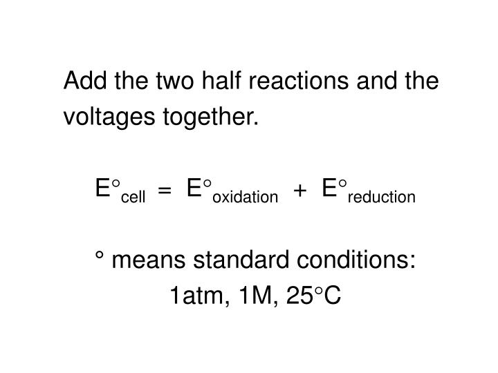 Add the two half reactions and the