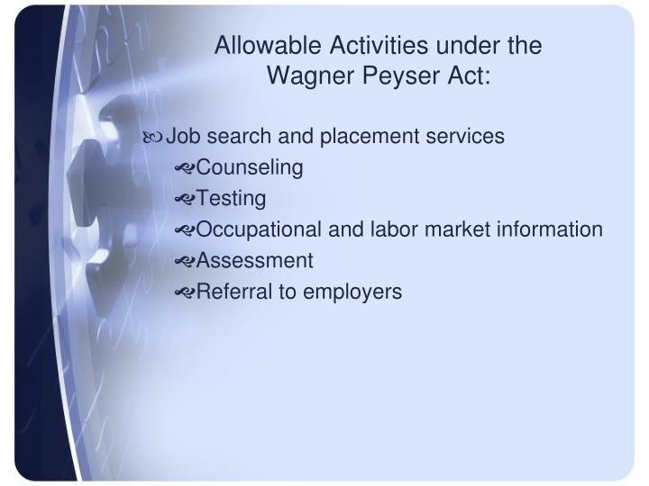 Allowable Activities under the