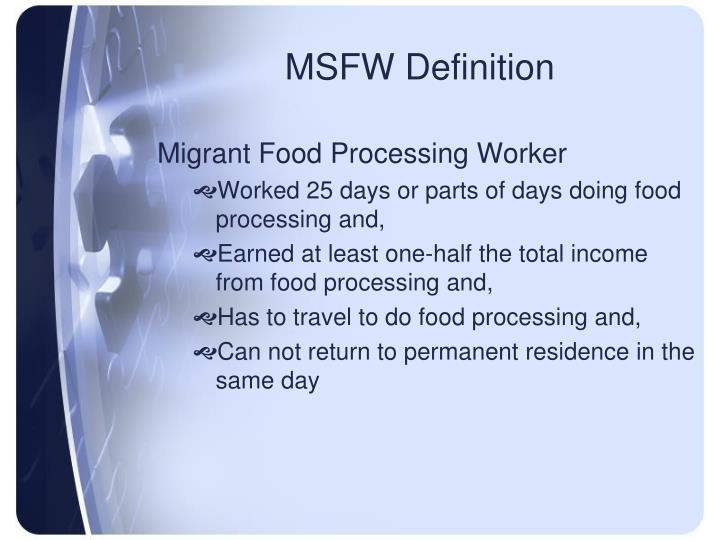 MSFW Definition