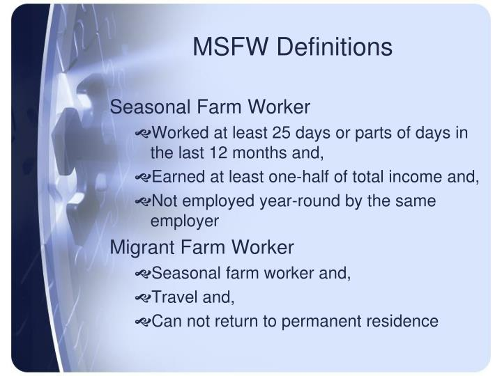 MSFW Definitions