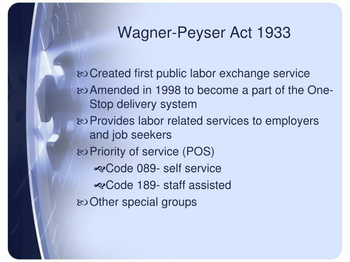 Wagner-Peyser Act 1933