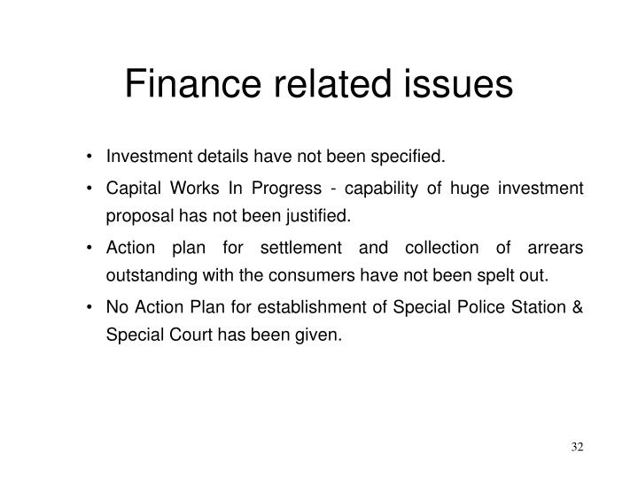 Finance related issues