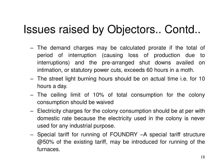 Issues raised by Objectors.. Contd..