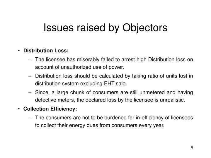 Issues raised by Objectors